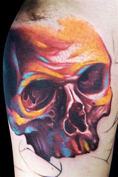 colorful skull tattoo designs watercolor skull on the arm tattooimages biz
