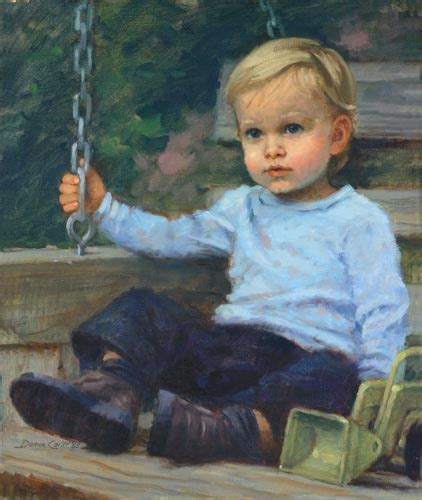 painting of boy and girl on swing oil portrait of toddlers boy in blue on swing painting