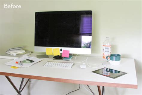how to organize a desk without drawers before and after how to style and organize your desk in 6