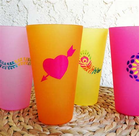 Decorate Tumbler Cups by Make Enameled Plastic Cups Dollar Store Crafts