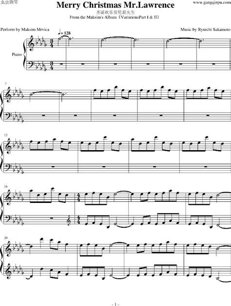 piano sheet  merry christmas  lawrence wwwgangqinpucom