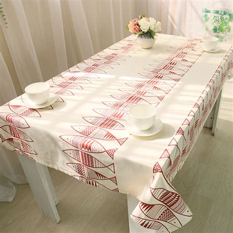 tablecloths white table cloth cotton covers simple fish pattern oval large tablecloth cloth