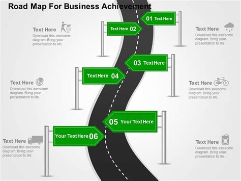 road map powerpoint template road map for busienss achievement flat powerpoint design