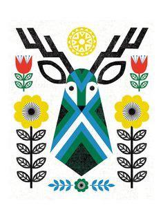 Liquid Folkdeer Traditional Folk Pattern On Black Wzory