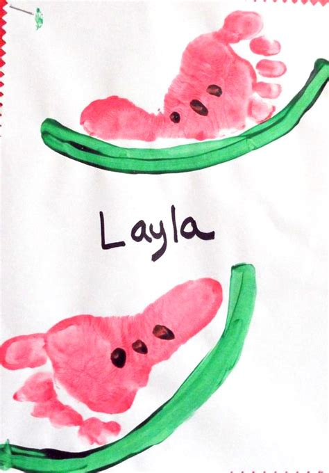 simple ideas for summer baby footprint watermelon craft for kids crafty morning