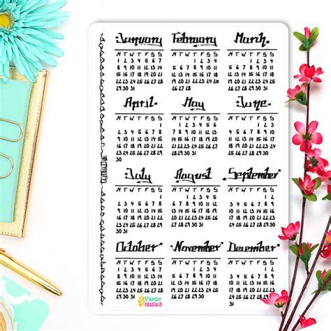 printable calendar 2018 bullet journal year at a glance calendar 2018 bullet journal stickers