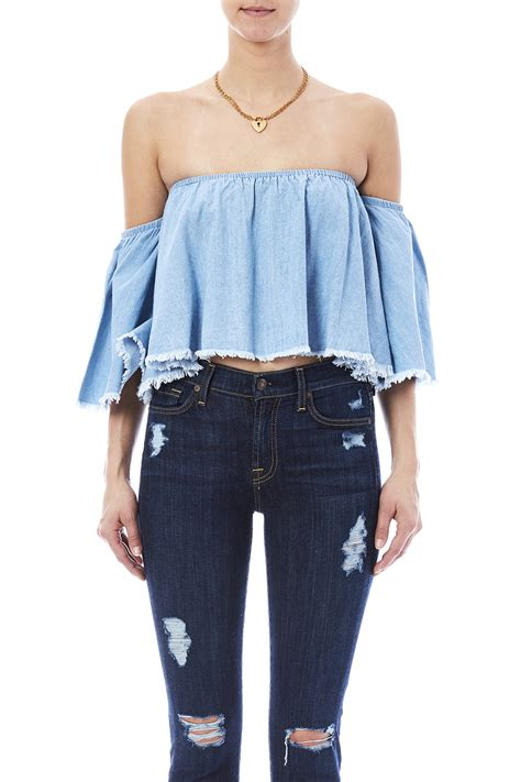 denim crop mustard seed denim crop top from manhattan by dor l dor