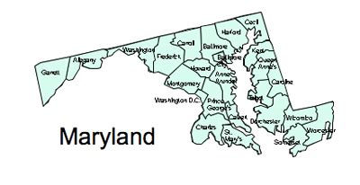 Maryland State Outline Map by Us Printable County Maps Royalty Free
