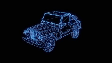 holographic jeep car engine wire frame assembling disassembling animation