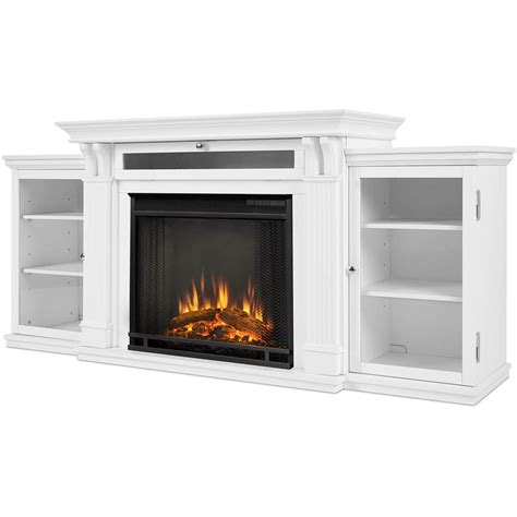 White Fireplace Media Center by Real Calie 67 Inch Electric Fireplace Media Console