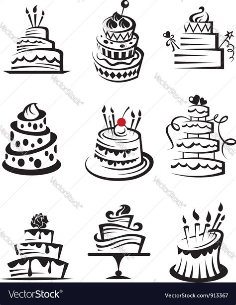 Set of cakes Royalty Free Vector Image   VectorStock