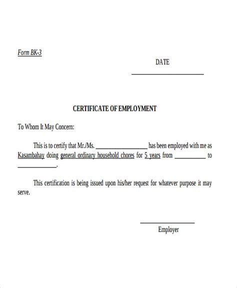 letter of certification of previous employment certificate letter template 11 free sle exle