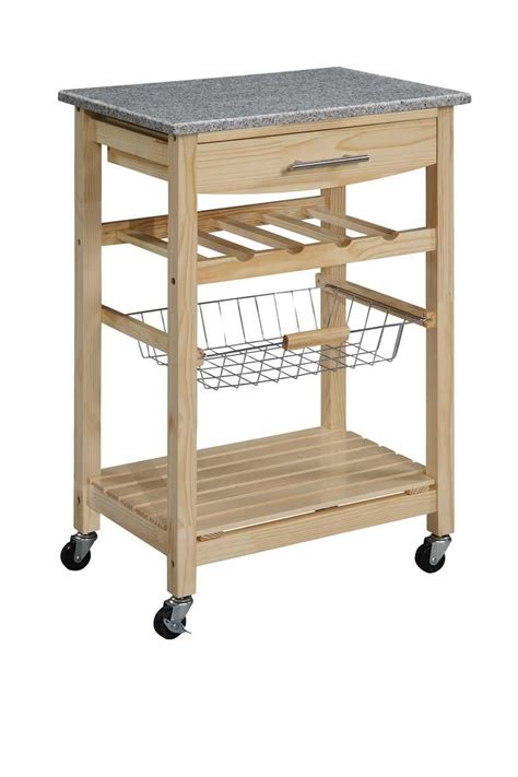 Kitchen Island Cart Granite Top Linon Kitchen Island Cart With Granite Top By Oj Commerce 44037knat 01 Kd U 148 99