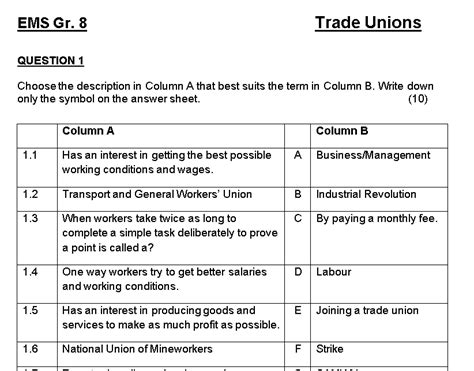 Gr 8 Ems Trade Unions Worksheet Class Test Teacha