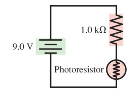 photoresistor light circuit a photoresistor whose resistance decreases with l chegg