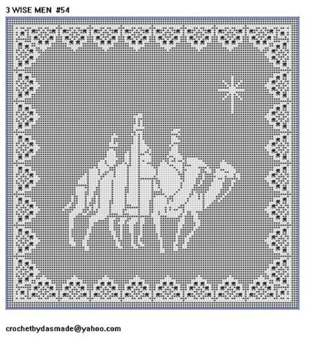 54 wisemen filet crochet doily pattern with