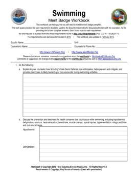 Swimming Merit Badge Worksheet Answers by Merit Badge Worksheets Lesupercoin Printables Worksheets