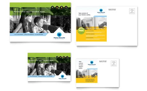home security systems postcard template word publisher