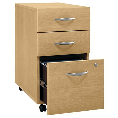 Bush Bbf Series C 3dwr Mobile Pedestal In Light Oak Wc60353 3 Drawer Wood File Cabinet