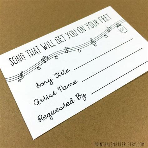 Wedding Song Request Form by Wedding Song Request Card Design 1 Rustic Jar