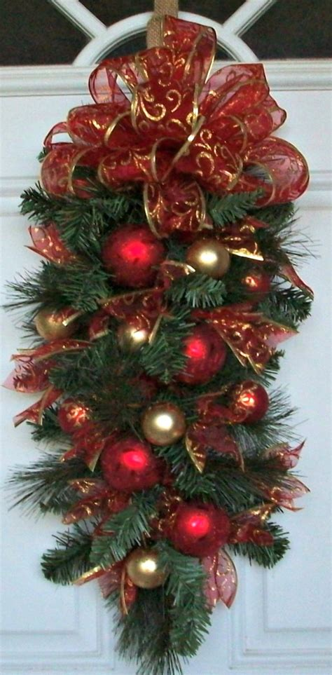 teardrop swag christmas swag vertical swag pine green by