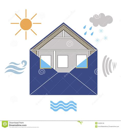Envelope House by House Building Envelope Weatherization Allegoric With The