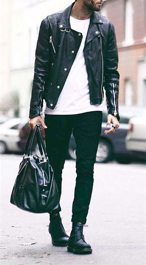 S W A T Black Leather Black White picture of ablack leather jacket black a white