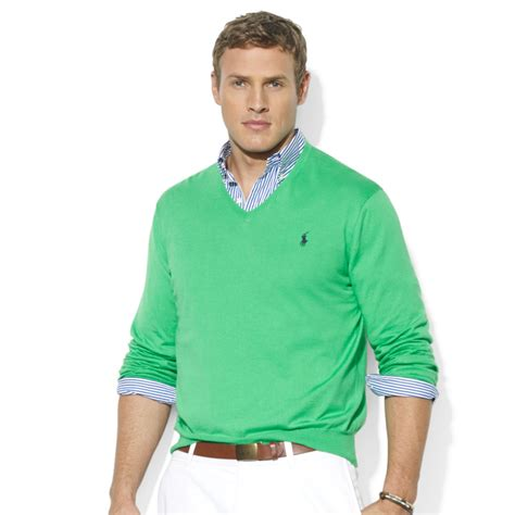 Sweater Rajut Cotton V Neck Pria 16 lyst ralph vneck pima cotton sweater in green for