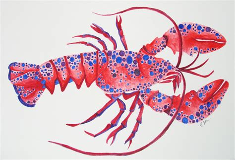 original painted lobster watercolor painting nautical