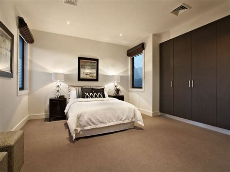 modern bedroom design idea with carpet built in wardrobe