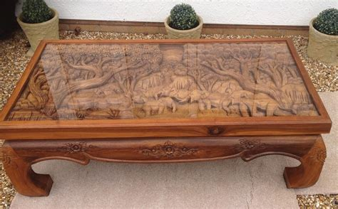 Solid Wood Hand Carved Elephant Scene Coffee Table With Glass Top   Solid wood and Hand carved