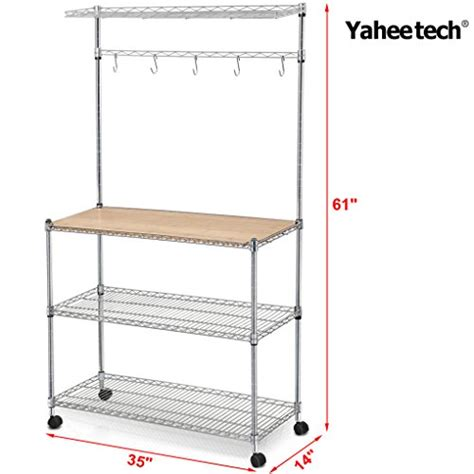 Bakers Rack With Cutting Board Yaheetech Steel Bakers Rack With Cutting Board And Storage