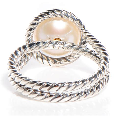 david yurman sterling silver pave pearl cable ring