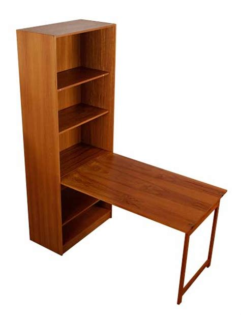 Vintage Danish Teak Bookcase with Hidden Table   Modernism