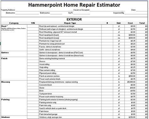12 Free Sle Home Repair Estimate Templates Printable Sles Repair Estimate Template