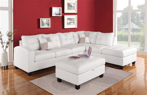 kiva white bonded leather reversible sectional sofa