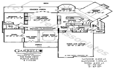 floor plan front view lake house plans with rear view wrap around lakefront