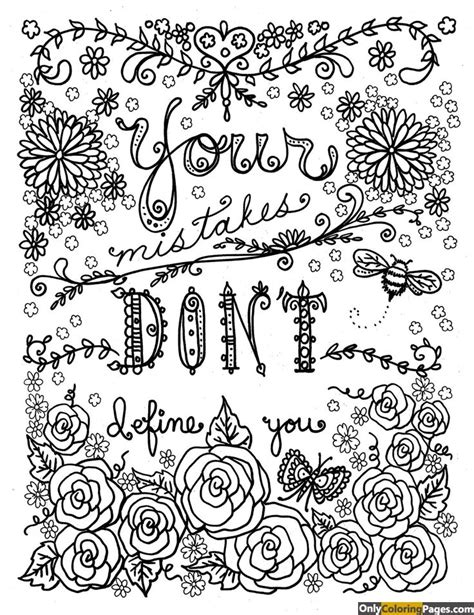 coloring book not free your mistakes dont define you adults coloring pages free