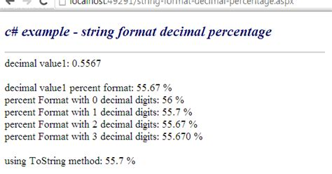 html format number as percentage c how to format a decimal string as percentage value