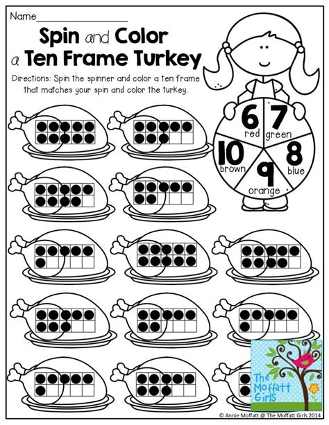 spin color spin and color a ten frame turkey spin the paperclip