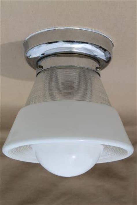 Light Fixture Reflector Vintage Ceiling Light Fixture W Glass Bullseye Reflector Shade Industrial Flush Mount Fixture