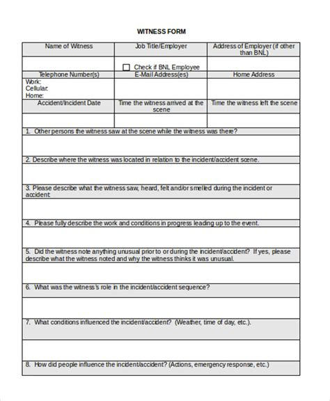 witness form template sle witness statement form 10 free documents in word