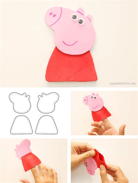 como hacer brazos y manos de peppa pig en porcelana george y peppa pig de goma eva con moldes para recortar