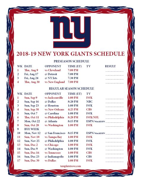 Ny Giants Schedule 2018 Printable printable 2018 2019 new york giants schedule