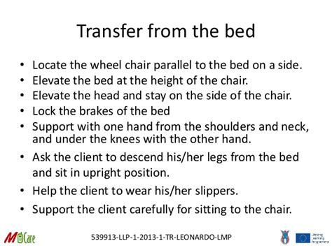 bed to chair transfer procedure 12 m care mobility in with disabilities and
