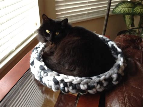 giant pattern hooks crochet cat bed using giant yarn and crochet hook