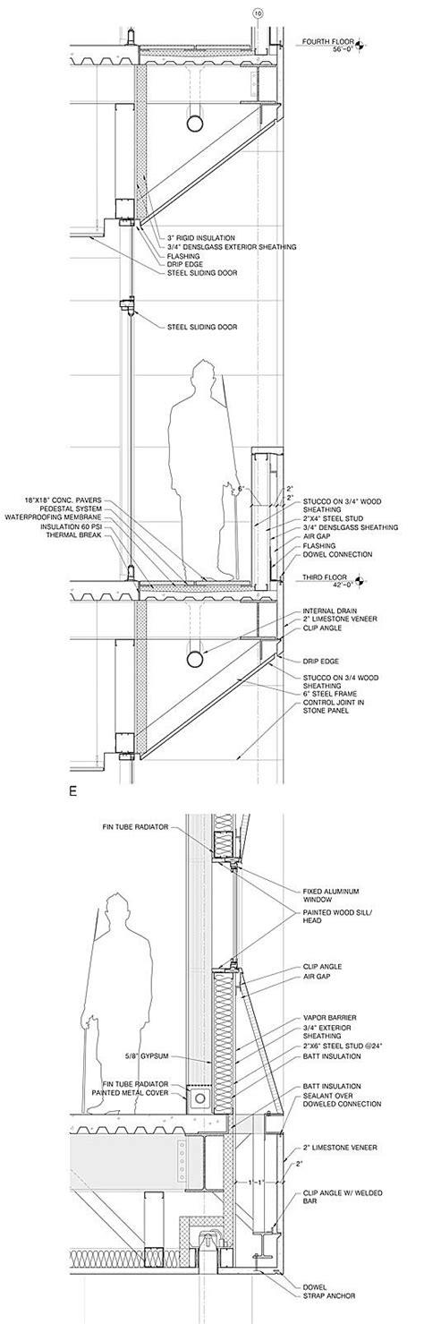 building section detail drawing wall section at office balcony arch section