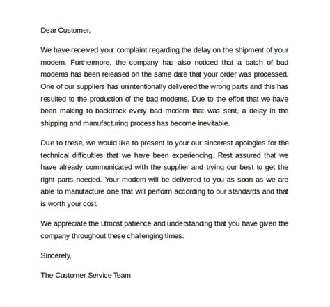 Apology Letter On Customer Service sle apology letter to customer 7 documents in pdf word