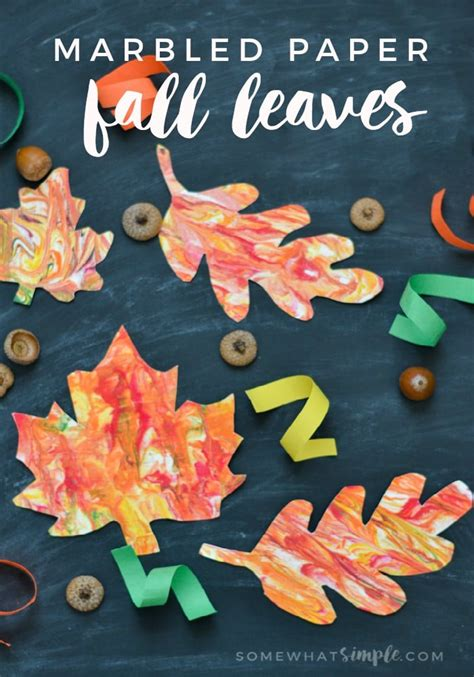 How To Make Fall Leaves Out Of Paper - marbled paper fall leaves craft somewhat simple