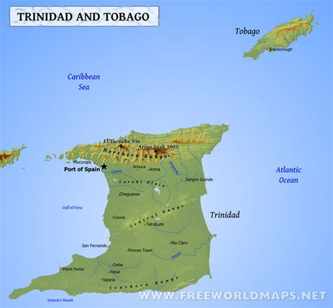 and tobago map and tobago map geographical features of and tobago of the caribbean